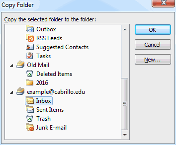 Select destination folder